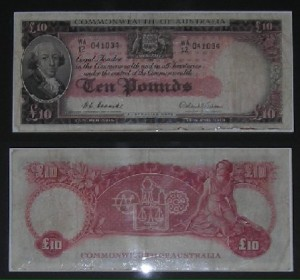 "Two of George Trad's ""lost"" ten pound notes - on display at the Bega Regional Museum"